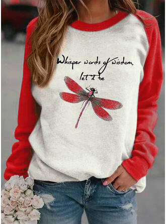 Couleurs Opposées Motif Animal Figure Col rond Manches longues Sweat-shirts