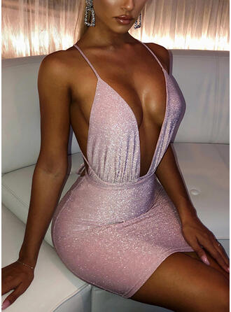 Sequins/Solid/Backless Sleeveless Bodycon Above Knee Sexy/Casual Slip Dresses