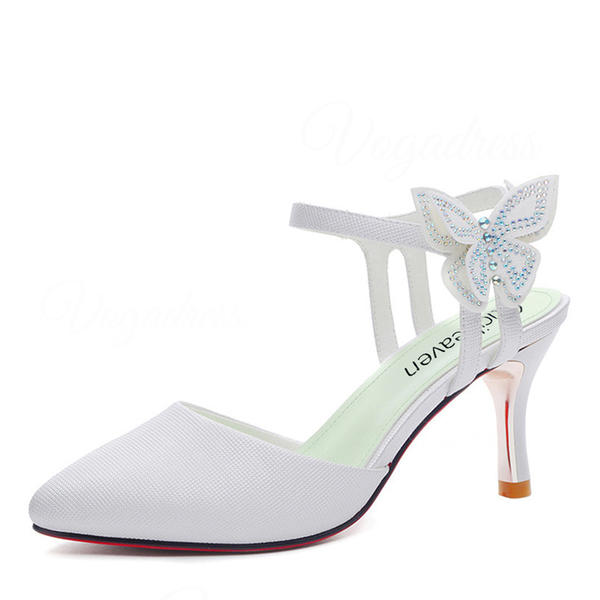 Women's Leatherette Stiletto Heel Closed Toe With Bowknot