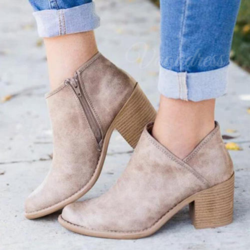 Women's Suede Chunky Heel Sandals Pumps With Zipper shoes