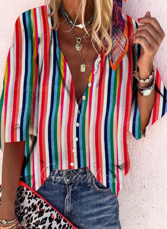 Striped V-Neck Long Sleeves Button Up Casual Shirt Blouses