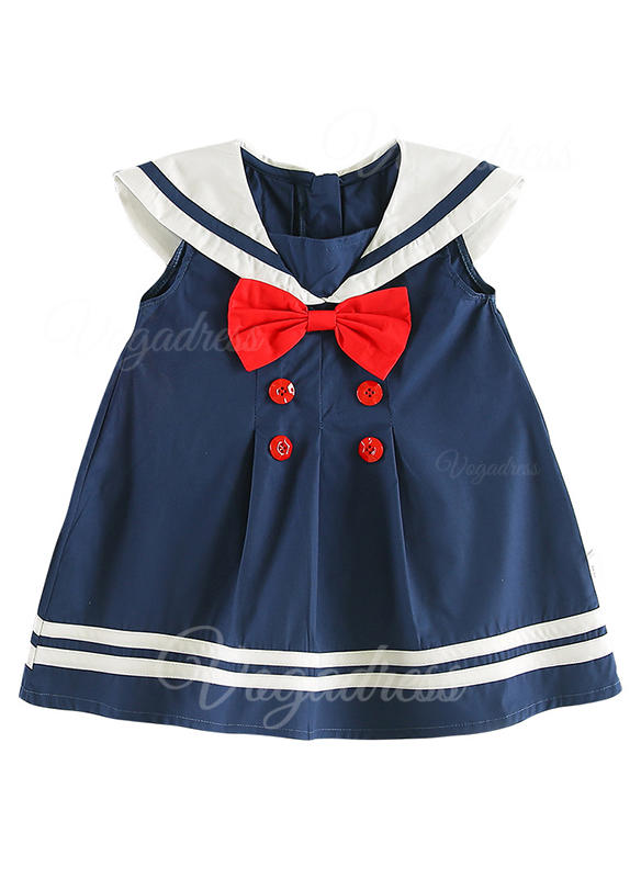 Girls Square Collar Striped Bow Casual Cute Dress