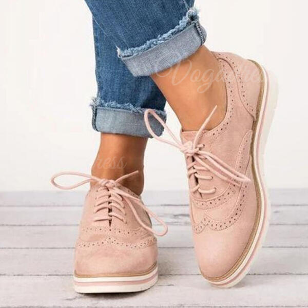Women's PU Flat Heel With Lace-up shoes