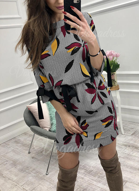 Print/Floral 3/4 Sleeves Bodycon Above Knee Casual Dresses