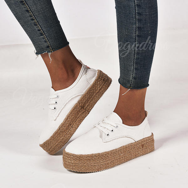 Women's Canvas Flat Heel Round Toe With Lace-up shoes