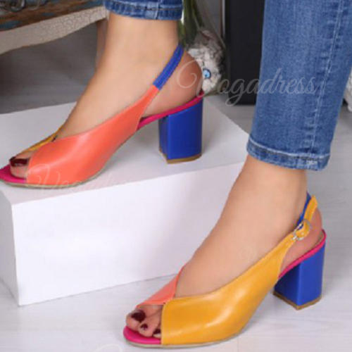Women's PU Low Heel Pumps Peep Toe With Buckle shoes