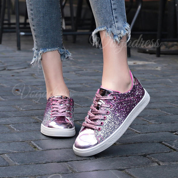 Women's PU Casual Outdoor With Sequin Lace-up shoes