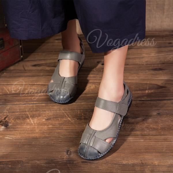 Women's Real Leather Flat Heel Flats Closed Toe With Hollow-out shoes