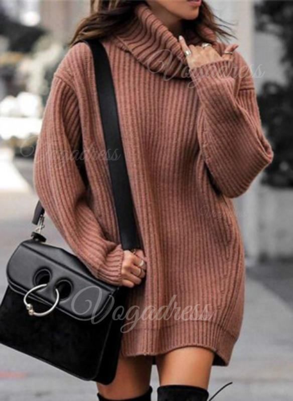 Solid Chunky knit Turtleneck Casual Long Sweater Dress