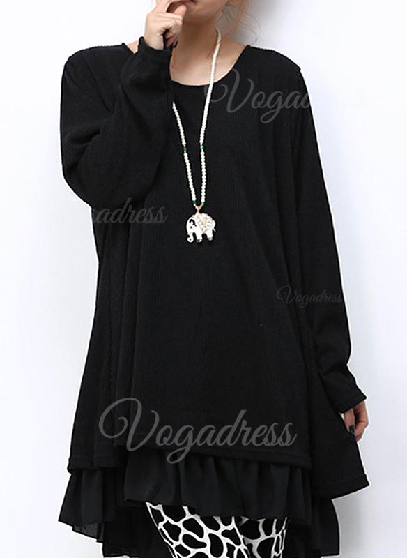 Solid Long Sleeves Shift Above Knee Tunic Dresses